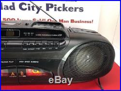 Sanyo MCD-Z31 AM FM CD Dual Cassette Player Recorder Boombox Portable Tested
