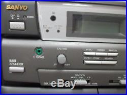 Sanyo Portable CWM-550 AM/FM Radio CD Player Dual Cassette Boombox