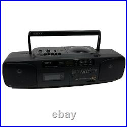 Sony CFD-50 Portable CD Radio Cassette Player Pro Boombox Black Tested Works