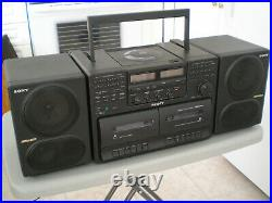 Sony CFD 740 boombox style portable CD player radio cassette, very clean