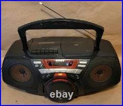 Sony CFD-G50 CD Player Cassette Recorder Portable Boombox AM FM Radio TESTED EUC