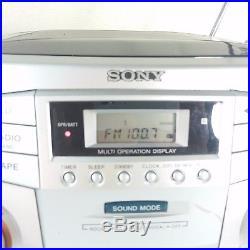 Sony Portable AM FM Dual Cassette CD Player Detachable Speaker Boombox CFD-ZW755