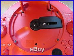 Sony Red CD Player AM/FM Portable Radio Boombox Audio/MP3 Aux In Battery AC