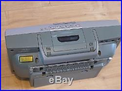 Sony ZS-D50 Portable Stereo Boombox, Cassette Deck CD Player Line In/Out Megabass