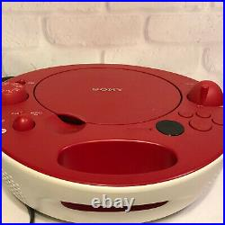 Sony ZS-E5 Red Portable CD Player AM FM Radio MP3 AUX Stereo Space Age Boombox