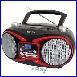 SuperSonic SC-504 RED Portable MP3 & Cd Player with Am/FM Radio