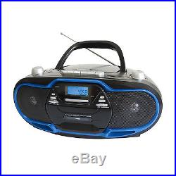 Supersonic Portable Boombox MP3/CD/Cassette Rec/AM/FM/USB/Radio/AUX Player BLUE