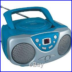 Sylvania SRCD243 Portable CD Player with AM/FM Radio, Boombox (Blue), New