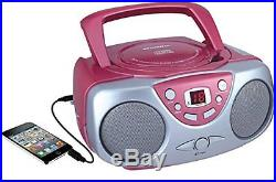 Sylvania SRCD243 Portable CD Player with AM/FM Radio, Boombox (Pink) New