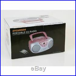 Sylvania SRCD243 Portable CD Player with AMFM Radio, Boombox (Pink)