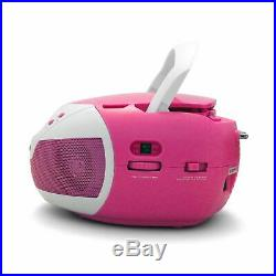 Tyler Portable Neon Pink Stereo CD Player with AMFM Radio and Aux & Headphone Ja