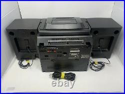 VINTAGE JVC PC-X103 PORTABLE BOOMBOX CD, FM, AM, CASSETTE PLAYER with REMOTE