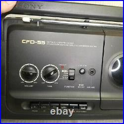 Vintage 1990s Sony CFD-55 Portable Stereo Boombox CD Tape Cassette Player Radio